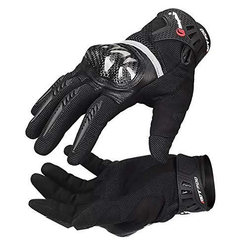 LVNRIDS Guantes de Moto, Guantes de Motocicleta para Hombre Mujer con Proteccion Pantalla Tactil para Motocross Ciclismo ATV BMX MTB Negro M