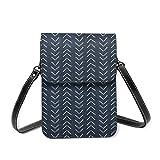 Bolso de hombro pequeño de tela de barro con flechas grandes en azul marino, bolso cruzado para teléfono móvil, monedero ligero para mujeres y niñas