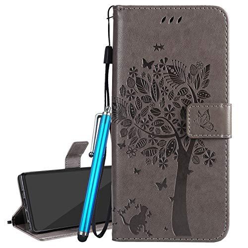 Laybomo Handyhülle für LG K8 2018 / LG K9 Tasche Leder Schutzhülle Pramie Beutel mit Magnet Kartenslot und Stehen Weich TPU Silikon Schale für LG K8 2018 / LG K9, Geschenkbaum Katze (Grau)