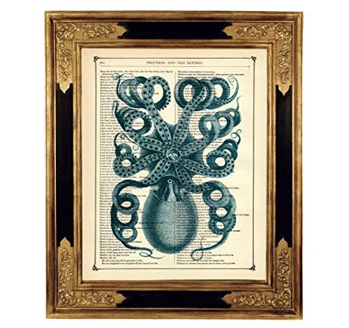 Oktopus Poster Kraken Kunstdruck auf viktorianischer Buchseite Steampunk Maritim Geschenk Geburtstag...