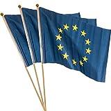 MC-Trend® 3er Set Europa Fahne mit Stab 30x45cm Flagge Europe europäische Union EU Sterne (30 x 45 cm 3er Stück)