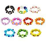 PANTIDE 10 Pcs Daisy Flower Bead Rings Set, Cute Handmade Flower Beaded Rings, Fashion Vsco Boho Beach Rings, Colorful Jewelry Rings with 7 Flowers Indie Kidcore Aesthetic for Teens Baby Girls