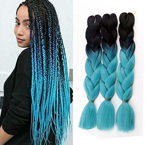 Jumbo Braids Coloré Synthétique Kanekalon Extensions de Cheveux pour DIY Crochet Box Tressage Ombre 100g/pc 2Tone Noir-Bleu 3pcs/Lot 61cm(24 pouces)