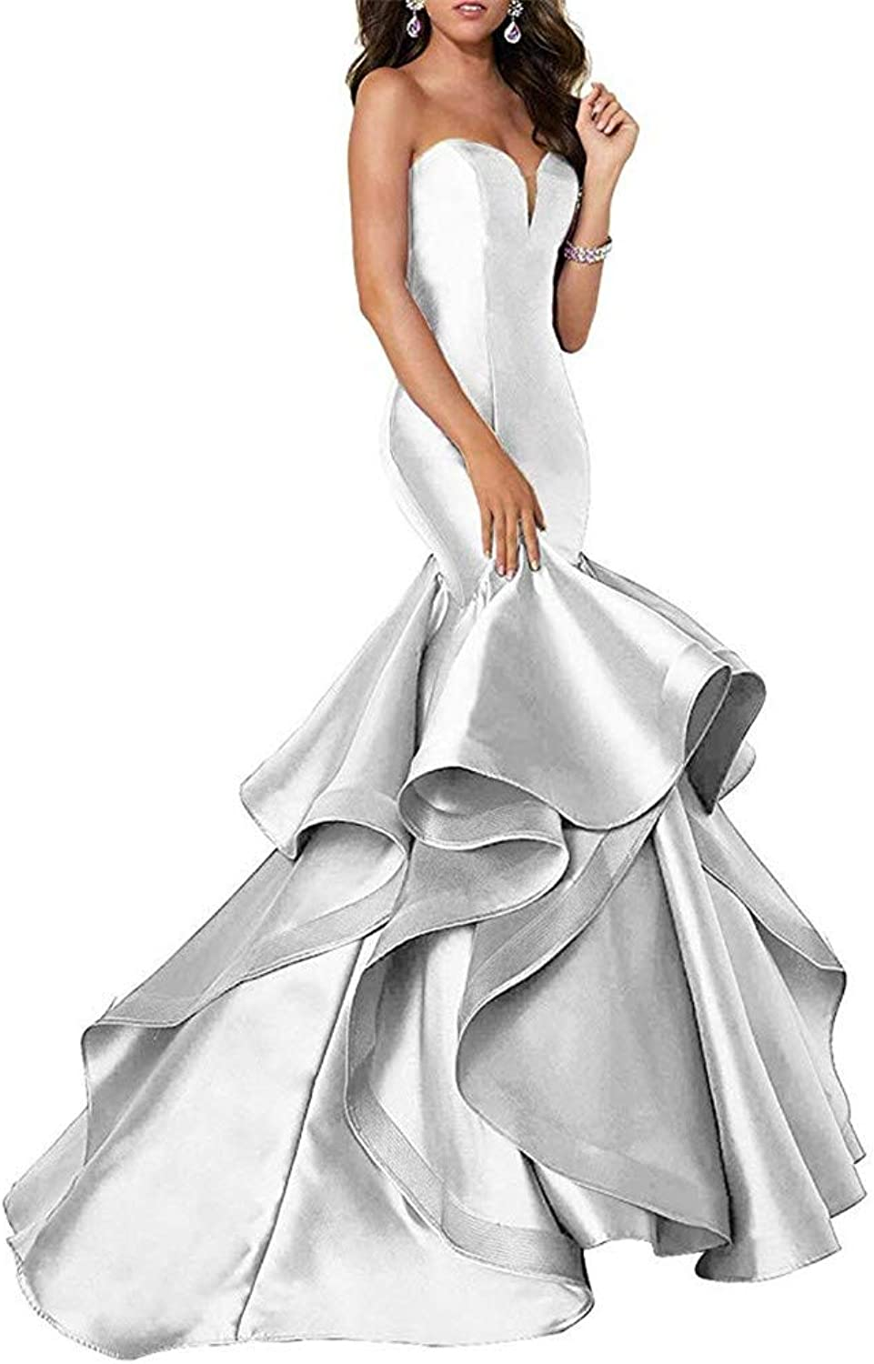Ai Maria Women's Sweetheart Mermaid Prom Evening Party Dresses Tiered Formal Dress