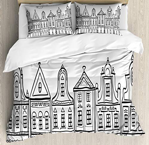 ABAKUHAUS Amsterdam Dekbedovertrekset, Village Houses Theme, Decoratieve 3-delige Bedset met 2 Sierslopen, 230 cm x 220 cm, White Charcoal Grey