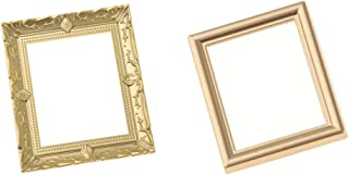 SM SunniMix 2 Pieces Vintage Empty Golden Picture Painting Photo Frames for 1/12 Miniature Dollhouse Life Scenes Simulation Supply