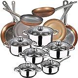 Bateria de cocina 12 piezas SAN IGNACIO Cassel, acero inoxidable, con juego sartenes (18,20,22,24,26,28 cm) en aluminio prensado