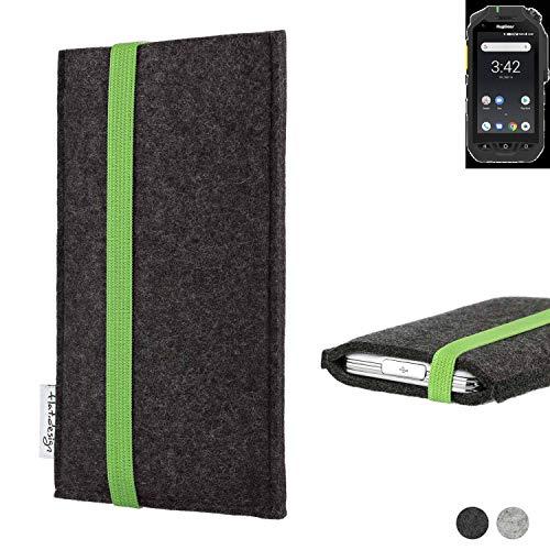 flat.design Handy Hülle Coimbra für Ruggear RG725 handgefertigte Handytasche Filz Tasche fair grün dunkelgrau