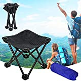Folding Portable Camping Stool Mini Lightweight Sturdy Collapsible Chair for Camping, Fishing, Hiking, Fishing, Travel, Beach, Picnic with Portable Bag (Black-Medium)