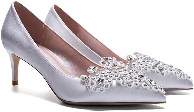 YIXINY Pumps LH-2884 Einzelne Schuhe Frau Seide + + + PU Hand Eingelegt Strass Fein Ferse Spitz Flacher Mund Hochzeit High Heels Silber (Farbe   6cm, größe   EU36 UK3.5 CN35)  b58777