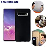 Wingcases for Samsung Galaxy S10 Case, Anti Gravity Black Case Magic Nano Sticky Case for Galaxy S10 Suction Stick on The Smooth Surface Mirror Screen Wall Selfie Case with Dust Proof Film