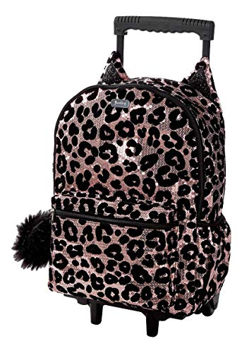 Justice Cheetah Rolling Backpack for Girls - Kids Roller Backpacks for School - Backpack with Wheels for Girls