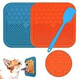 Morfone Leckmatte Hund, BPA-frei,2 Stück Schleckmatte Hund mit 1 Silikonspatel, Leckmatte Hund Gross mit Super Starke Saugkraft, Hunde Leckmatte für Hundebaden, Trainieren, Fellpflege & Krallenpflege