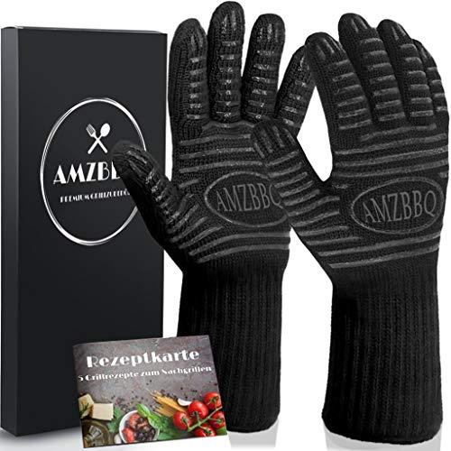 AMZBBQ Premium Grillhandschuhe, Hitzebeständige Backhandschuhe bis 500 Grad, Extra Lange Ofenhandschuhe, Topfhandschuhe für Küche & Grill, Feuerfeste Kochhandschuhe in Größe M