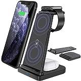 Yaature Caricatore Wireless [Staccabile], 3 in 1 Caricabatterie Senza Fili Qi per Apple Watch 6/5/4/3/2 & Airpods PRO/2, Ricarica Rapida Wireless per iPhone 11/11 Pro/X/XS/XR/8/8 Plus/Samsung
