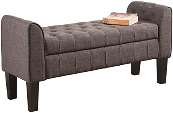 Milton Greens Stars 7070 GR Berlin 50 Inch Tufted Ottoman With Armrests Gray Storage Bench