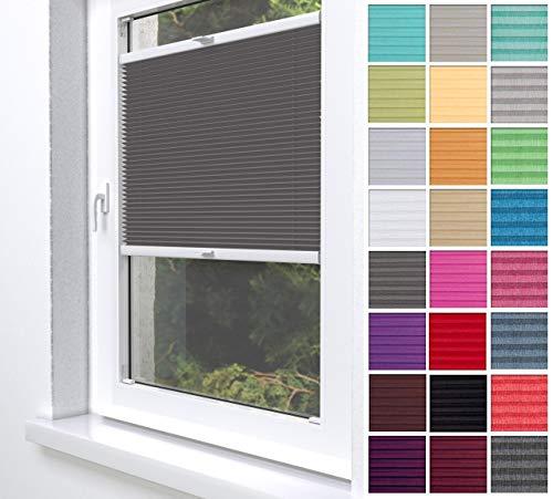Home-Vision® Premium Plissee Faltrollo ohne Bohren zum Kleben Innenrahmen Blickdicht Sonnenschutz Jalousie für Fenster & Tür (Graphit, B75 x H200cm)