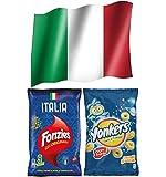 Italia Aperitivo - Fonzies Croccantini di Mais al Formaggio Italia 211,5g + Yonkers Snack al Formaggio non Fritti 120g + Omaggio Bandiera italiana, 150 x 90 cm