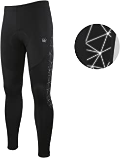 Santic Men's Cycling Tights Padded Pants Cycle Leggings Bicycle Bike Trouser-Reflective Winter Warm Windproof Black