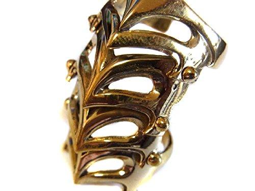 金色の甲冑タイプ ウィメンズ 4連式アーマーリング ブラス真鍮製