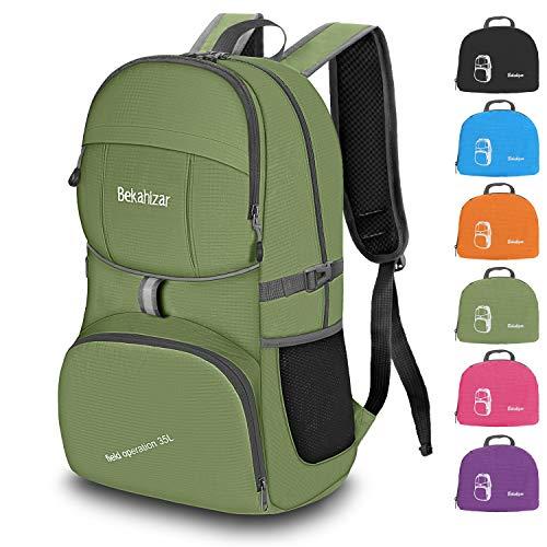 Bekahizar Handgepäck Rucksack 35 Liter, Leichter Faltbarer Reiserucksack für Herren Damen Outdoor Camping Wandern Radfahren Tageswanderungen (armeegrün)