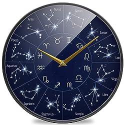 Naanle Beautiful Zodiac Constellation Round Map Leo Virgo Scorpio Round Wall Clock, 12 Inch Silent Battery Operated Quartz Analog Quiet Desk Clock for Home,Office,School