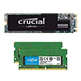 Crucial MX500 1TB M.2 SATA 6Gb SSD CT1000MX500SSD4 Bundle with 32GB (2 x 16GB) DDR4 PC4-21300 2666MHz Memory Kit CT2K16G48FD8266 Compatible with Laptops and Notebooks