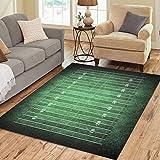 Pinbeam Area Rug Line Football Field Pattern Dark Green Grass Home Decor Floor Rug 3' x 5' Carpet