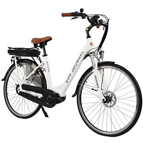 """AsVIVA E-Bike Damen Hollandrad 28"""", Tiefeinsteiger (13Ah Akku), 7 Gang Shimano Schaltung, Mittelmotor, Scheibenbremsen, weiß"""
