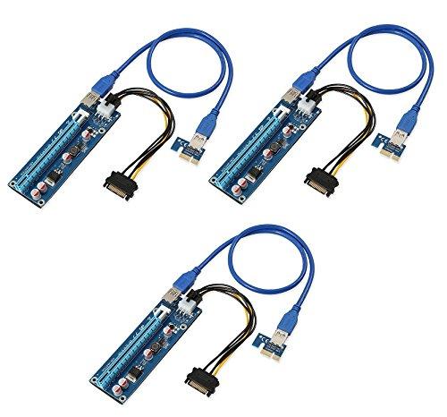 AAA PRODUCTS Alta qualità - PCI-E Express da 1x a 16x Scheda Riser Extender + Cavo di Alimentazione SATA 6pin + 60cm USB 3,0 Extension Cable