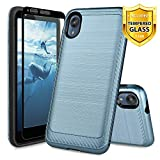 TJS Case for Motorola Moto E6, with [Full Coverage Tempered Glass Screen Protector] Hybrid Shockproof Resist Drop Protection Phone Cover Metallic Brush Finish Hard Inner Layer (Blue)