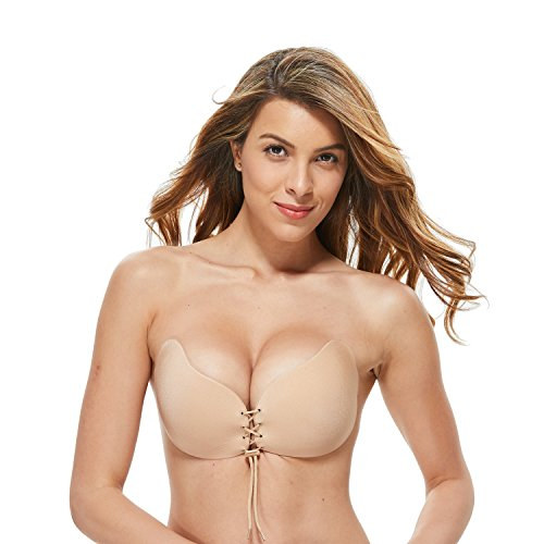 Tuopuda Mujeres Silicone Invisible Sujetador Push UP Bra con Gel Adhesivo y Ajustable String