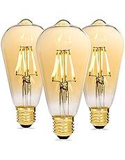Alampia Bombilla LED E27 Vintage Regulable, Edison Decorativa Lámpara ST64, 4W 2200K Luz Blanca Cálida, Bombilla Retro Para Casas, Cafeterías, Bares, Familia, Hoteles, Nostalgias, 3 Unidades