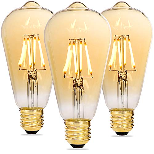 Alampia Bombilla LED E27 Vintage Regulable, Edison Decorativa Lámpara ST64, 4W 2200K...