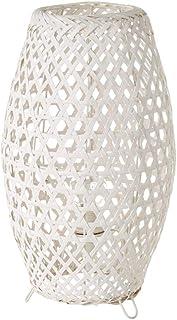 Lámpara de mesa de rejilla shabby chic de bambú y metal blanca, de ø 20x36 cm - LOLAhome