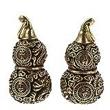 Wakauto 2 llaveros de latón con la suerte Feng Shui, calabaza, Feng Shui, amuleto del tesoro, figura china Feng Shui, decoración, bendición, regalos para mujeres y hombres