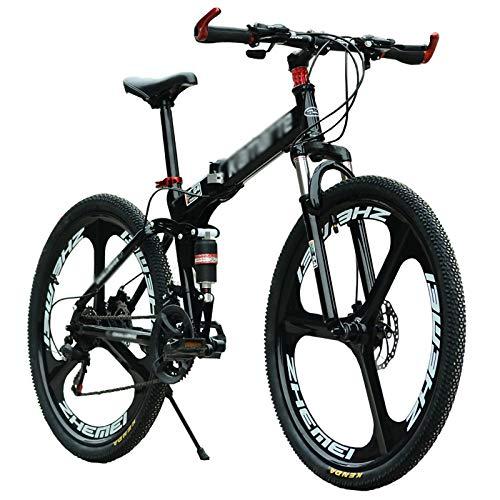 26 Pulgadas Bicicleta Plegable para Adulto Hombres Y Mujer, Mini Ligero Bicicleta Plegable Hidráulico Conmoción Absorción, Alto De Tensión Aluminio Plegable Cuadro con Freno De Disco Doble,30 Speed