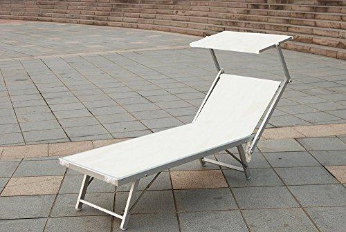 Chaise longue en aluminium textilène blanc 180 x 60 x 38 cm pour jardin, piscine, plage