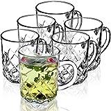 KADAX Set di 6 bicchieri da tè, bicchieri con manico, per 6 persone, lavabili in lavastoviglie, per caffè, tè, acqua, succo, bevande, succhi, succo, acqua
