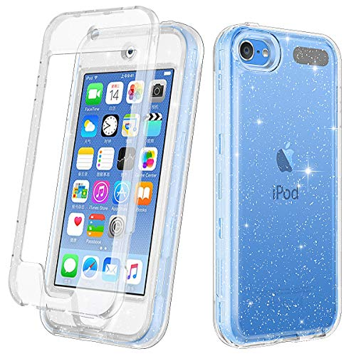 Lamcase for iPod Touch 7/iPod Touch 6/iPod Touch 5 Case, Crystal Clear Glitter Sparkly Bling Shockproof Hybrid Three Layer Protective Cover for iPod Touch 7th/6th/5th Generation, Clear/Silver Glitter