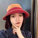 Sombrero femenino pescador salvaje sombrero sombra protector solar dibujos animados borde corto linda cubierta cara-M (56-58 cm)_Naranja