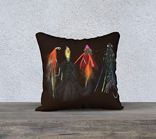 DKISEE Funda de almohada cuadrada de algodón y lino de 45,7 cm, suave funda de cojín para pesca con mosca, funda de almohada para exteriores, naturaleza