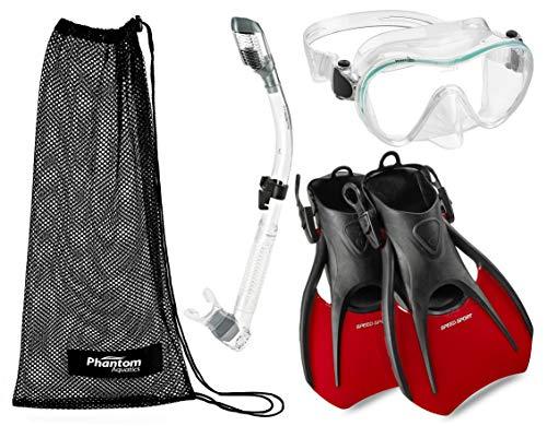 Phantom Aquatics - Maschera subacquea con lenti in vetro temperato, design italiano, senza cornice, con cinturino regolabile, pinna per boccaglio (rosso trasparente, S/M, US 4-7)