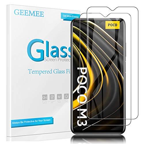 GEEMEE Pellicola Vetro Temperato per Xiaomi Poco M3/Poco C3 /Redmi 9A/Redmi 9C, Durezza 9H Protezione Schermo, Anti Graffi HD Trasparenza Protettiva Screen Protector