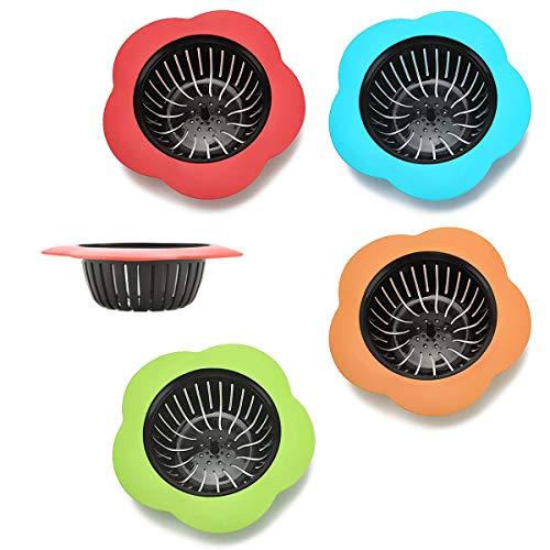 Xiuyer Tapón Drenaje Colador Filtro, 8pcs Anti-Obstrucción Tapón Drenaje Silicona Baño Filtro Lavabo Filtros Desagüe Fregadero Desagüe para Cocinas Bañeras Sistemas