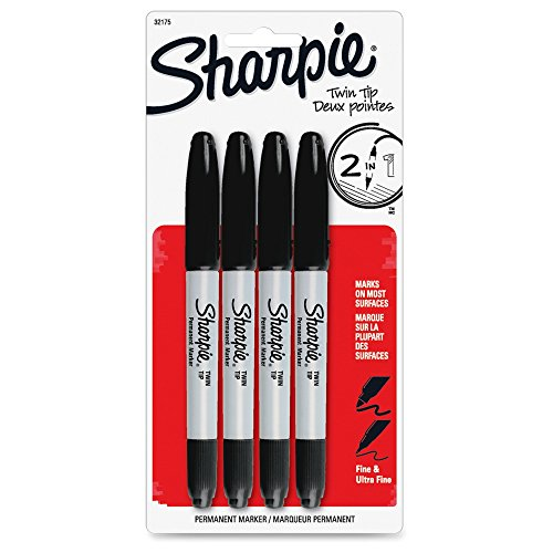 Sharpie Twin Tip Fine Point and Ultra Fine Point Permanent Markers, 4 Black Markers