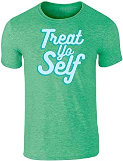 Treat Yo Self Funny Retro Holiday Quote Graphic Tee T-Shirt for Men