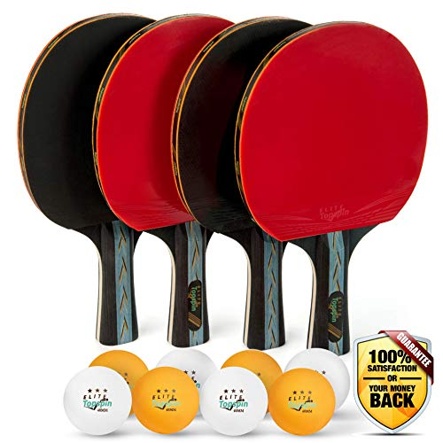 Elite Topspin Ping Pong Paddle Set - Professional 4-Player Table Tennis Racket...