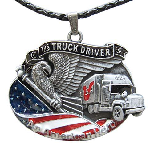 JEAN'S FRIEND American Hero Truck Driver Metal Charm Pendant Anhänger Leather Necklace Ketten