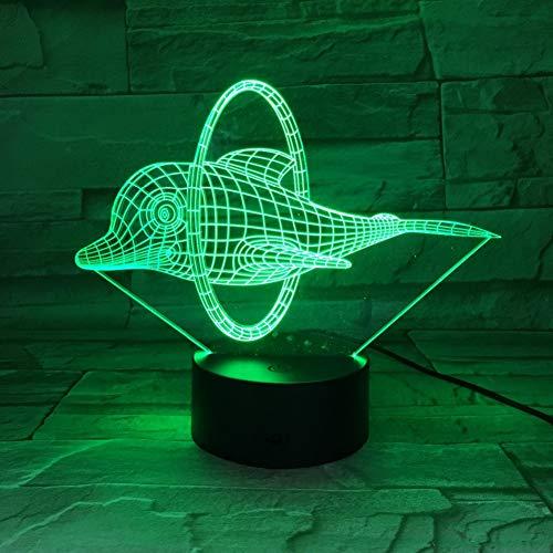 LPHMMD Nacht Licht Circus Leuke Dolfijn 3D LED Lamp Illusie LED Nachtlampje 7 Kleur s Novelty Lights Zelf Gifting Vrienden Kids